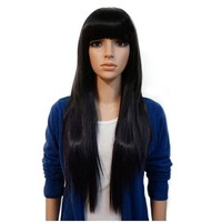 Rockstar Wigs 3Colors 65cm Long Straight Black Brown Synthetic Hair Wigs Women Brown Cosplay Hair
