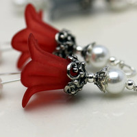 Vintage Style Red Lucite Flower and White Czech Pearl Bead Dangle Charm Drop Pair