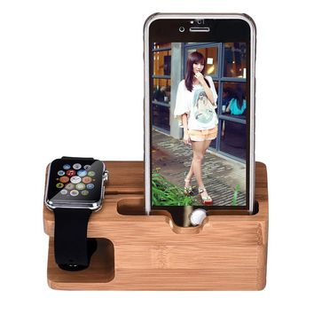 Bamboo Wood Charging Station Charger Dock Stand Holder For Apple Watch Phone Phone For iWatch For iPhone