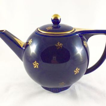 Hall China Cobalt Blue 6 Cup Teapot - Star Pattern - Made in USA