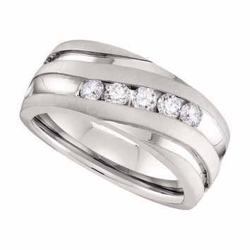 10kt White Gold Mens Round Diamond Matte Grooved Wedding Band Ring 1/2 Cttw