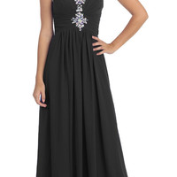 Studded Ruched Bodice Floor Length Black Formal Gown