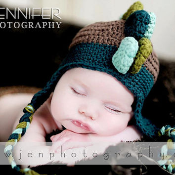 Baby Boy Crochet DINOSAUR Hat- Made to Order- Newborn-5T- Brown, Olive Green, Tourquoise, Light Tourquoise