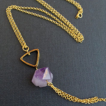 Raw Quartz AMETHYST Necklace // Long Boho Necklace// Raw STONE Nugget// Geometric inverted triangle Boho // Gift idea for her Christmas Gift