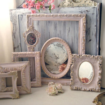 Pink Vintage Ornate Frames, Light Pink and Gold Open Frame and Mirror Set, Pastel Pink Nursery Decor, Shabby Chic Oval Ornate Frames