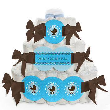 Boy Baby Carriage - Personalized Baby Shower Square Diaper Cakes - 3 Tier