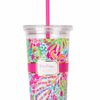 Lilly Pulitzer Tumbler with Straw-Spot Ya