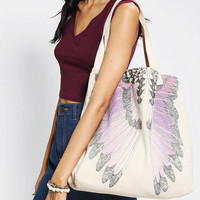 Midnight Rendezvous Feather Tote Bag
