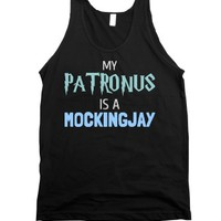 My Patronus Is A Mockingjay-Unisex Black Tank