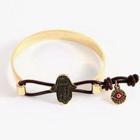 All Is Well Hamsa Bangle Bracelet - Gold or Silver