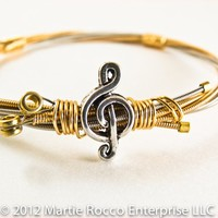 Guitar string bangle bracelet Music charm bead brass wire wrap.GS12-80