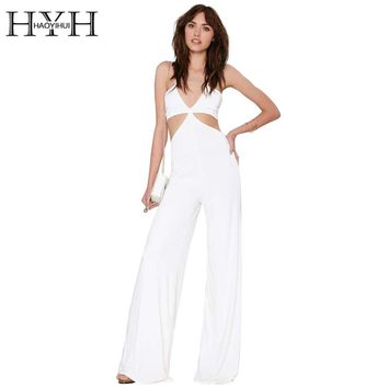 HYH HAOYIHUI Sexy Jumpsuits Women Hollow Out Halter Backless Wrapped White Rompers Black Slim Casual Wide Legs Long Jumpsuit