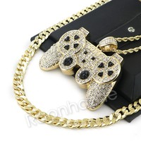 """ICED OUT BIG GAME CONTROLLER ROPE CHAIN DIAMOND CUT 30"""" CUBAN CHAIN NECKLACE G55"""