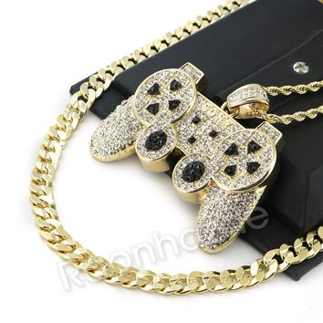 "ICED OUT BIG GAME CONTROLLER ROPE CHAIN DIAMOND CUT 30"" CUBAN CHAIN NECKLACE G55"