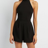 Mock Neck Open Back Pleated Romper