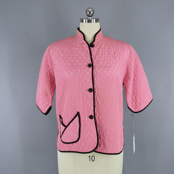 Vintage 1940s Bed Jacket / Carnation Pink Quilted Rayon
