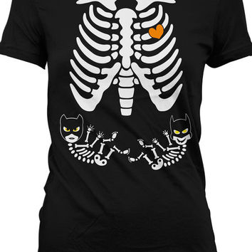 Pregnant Skeleton Shirt Halloween Pregnant Costumes Twin Skeleton Pregnancy Shirt Maternity Skeleton T Shirt Girl and Boy Twins Ladies M545