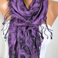 Peacock Print Cotton Scarf, Fall Scarf,  Shawl Scarf Cowl Scarf Gift Ideas For Her,Women Fashion Accessories Women Scarves