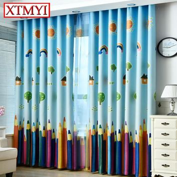 Blue Color modern Cartoon rainbow Blackout Curtains for Bedroom  curtains for kids Window curtains for living room