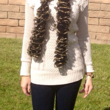 Black and Gold Glitter Ruffle Scarf by TheFiercestFandom on Etsy