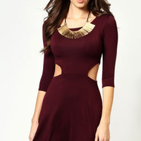 Amelia 3/4 Sleeve Cut Out Detail Skater Dress