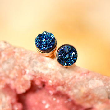 Blue Druzy Studs in 6mm , Roayl Blue Druzy Rose Gold Bezel Studs , Glitter Earring Studs , Rose Gold Earrings , Dainty Earrings ,Gift