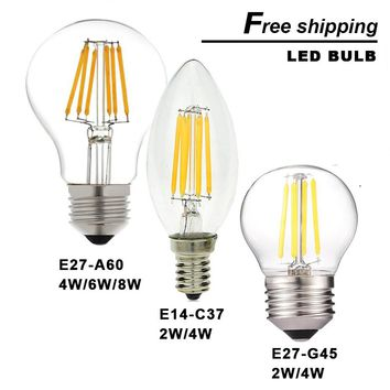 On Sale LED E14 bulb E27 2W 4W 6W 8W 220V dimmable bombillas LED filament Candle light warm cold white Chandelier crystal lamp