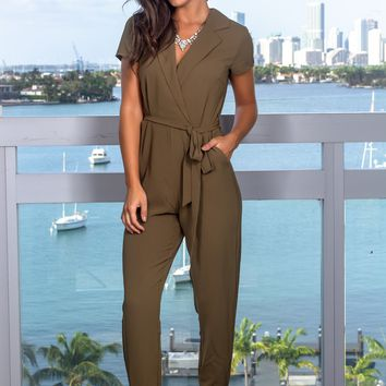 Olive Jumpsuit with Pockets