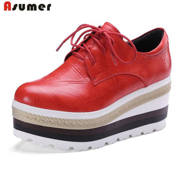 Asumer New arrival women shoes pumps genuine leather lace-up platform shoes fashion contracted oxford shoes round toe