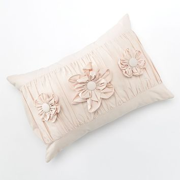 LC Lauren Conrad Ruched Triple Flower Decorative Pillow (Pink)