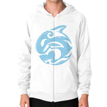 Tribal Killer Whale Tattoo in Blue Zip Hoodie (on man)