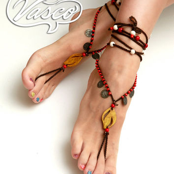 Boho Barefoot Sandal. Crochet Gypsy Shoes. Bellydance Sandals.