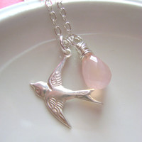 Sterling Silver Sparrow Bird Necklace and by RachellesJewelryBox