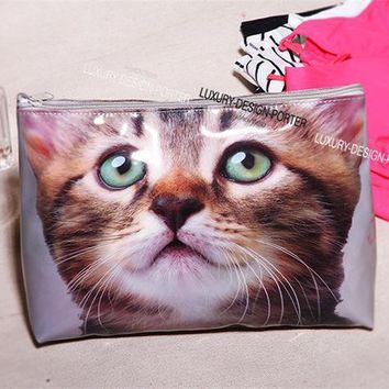 Designer Large Vivid Cat Waterproof Pvc Toiletry Bag Travel Organizer Cosmetic Bag