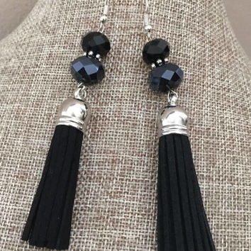 Crystal Tassel Earrings Silver Black Faux Leather