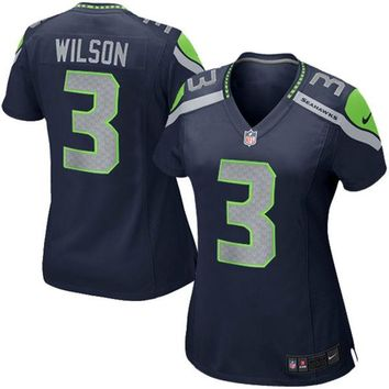 Girls Youth Seattle Seahawks Russell Wilson Nike College Navy Replica Game Jersey