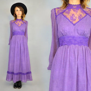 vtg 60s high neck VICTORIAN LACE bohemian hippie MAXI dress, extra small-small
