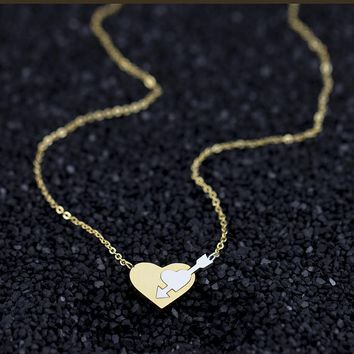 Collier Femme Double Hearts Joined With A Piercing Arrow Pendant Necklace For Couples Love Forever Jewelry Gifts Collar Chocker