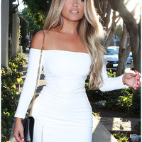Off-Shoulder Sleeve Zip-Slit Bodycon Dress
