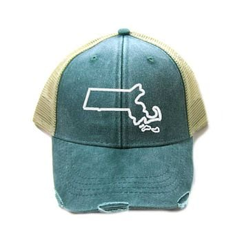 Massachusetts Hat - Distressed Snapback Trucker Hat - Massachusetts State Outline - Many Colors Available