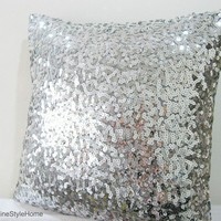Starry Night. Luxury Glamour. Silver Sequins Embellished Pillow Cover. Hand Sewn