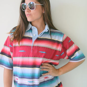 1980s Vintage WOOLRICH Aztec Top..size medium..mens. retro. preppy. classic. frat. fathers day. kitsch. fun. old man. sporty. college. greek