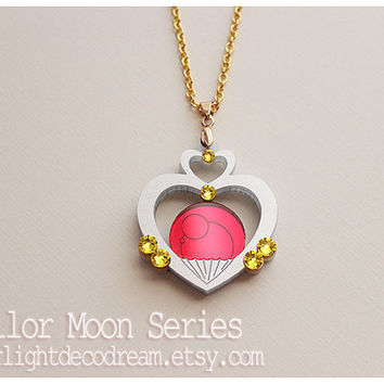 Sailor Pluto Garnet Orb Talisman Sailor Moon Inspired Fanart Acrylic Necklace for Mahou Kei, Magical Girl Lover Fashion