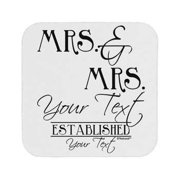 Personalized Mrs and Mrs Lesbian Wedding - Name- Established -Date- Design Coaster