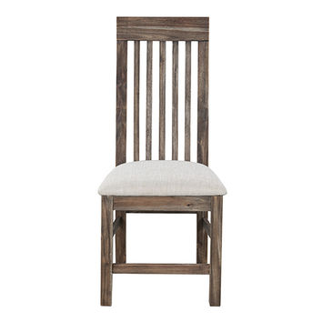 Magnussen Home D2596-62 Adler Wire Brushed Acacia Dining Chair with Upholstered Seat, Set of 2