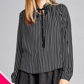 Plus Size Long Sleeve Stripe Dobby Woven Top