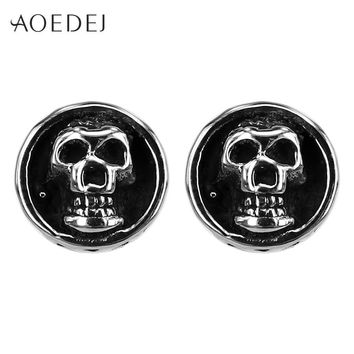 AOEDEJ Black Skull Earrings Stainless Steel Men Earrings Fashion Boys Punk Stud Earrings Vintage