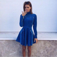 Winter Long Sleeve Zippers Shaped Slim Women's Fashion One Piece Dress [9415796428]