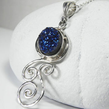 Druzy Necklace  Blue Drusy Pendant  Swirls by FantaSeaJewelry
