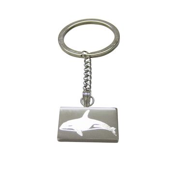 Silver Toned Etched Swimming Killer Whale Orca Keychain